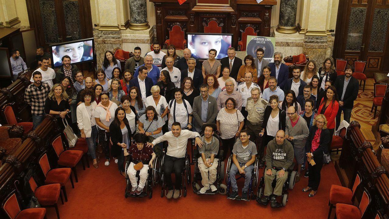 Un grupo de alumnos de la escuela de idiomas de Ferrol.
