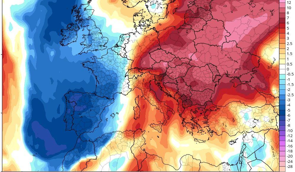El fin de semana se esperan anomalías térmicas negativas (valores por debajo de la media)