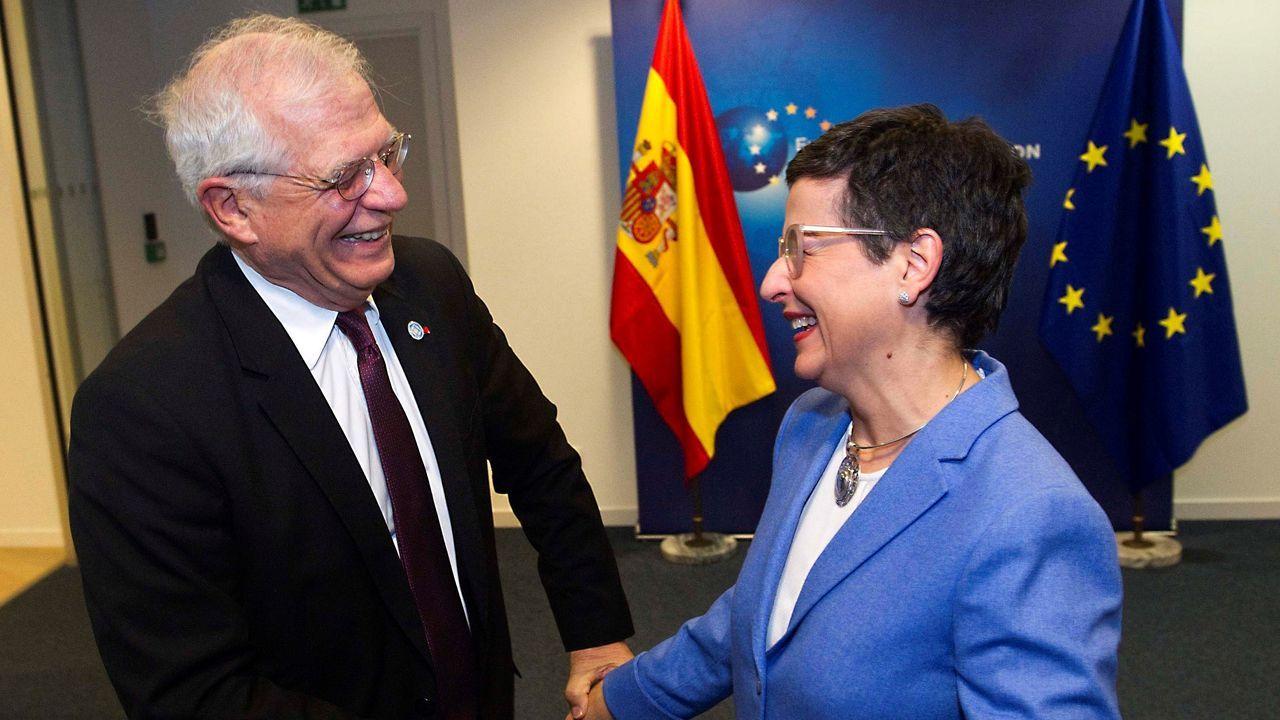 Borrell recibió a la ministra González Laya en su primera reunión de ministros de Exteriores de la UE