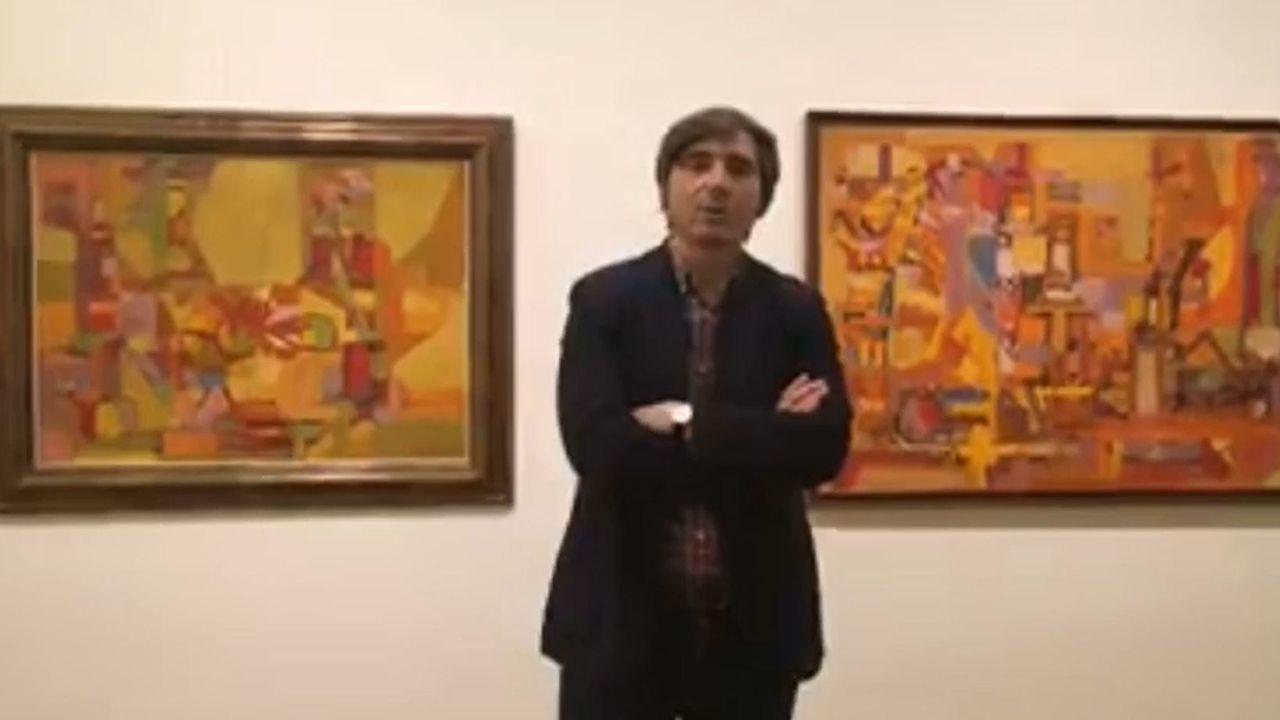 El director del Museo de Bellas Artes presenta la exposición de Orlando Pelayo.Universidad Laboral de Gijón