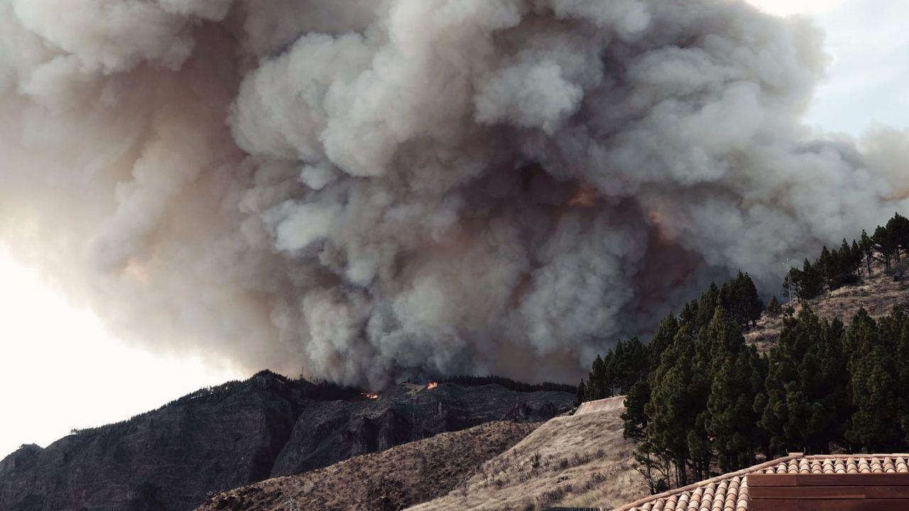 trabajador, trabajadores, construcción, empleados, guantes, martillo.Esta imagen del incendio es la única que pudo tomar José Luis Novelle al ser evacuado del parador de Cruz de Tejeda
