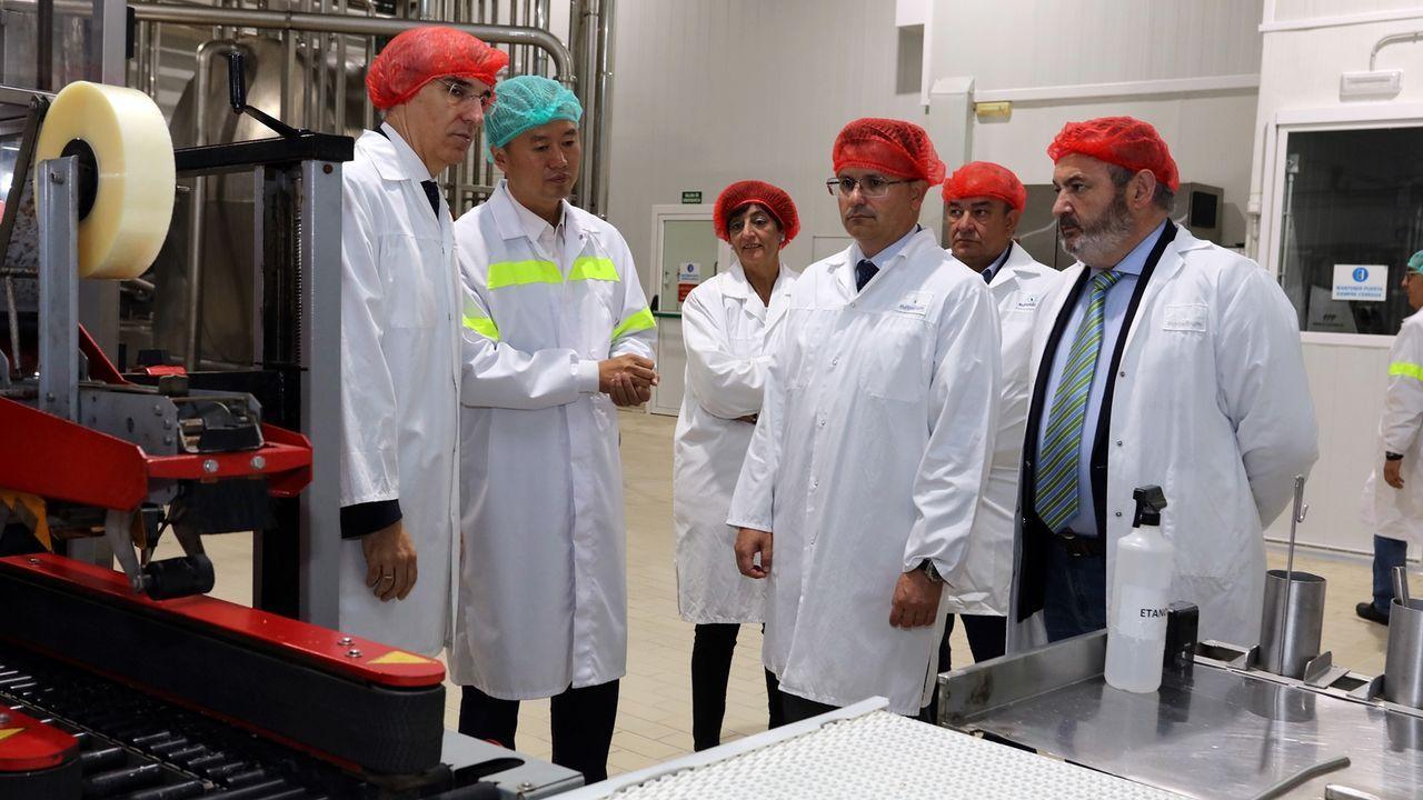 Un momento de la visita de los conselleiros a las instalaciones de la firma en el polígono de O Reboredo
