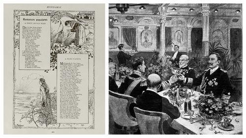 Página interior de la revista «Mondariz» y dibujo de Pedrero en sus labores como reportero gráfico del banquete ofrecido en Vigo en 1904 a Alfonso XIII por el emperador Guillermo de Alemania a bordo del vapor König Albert