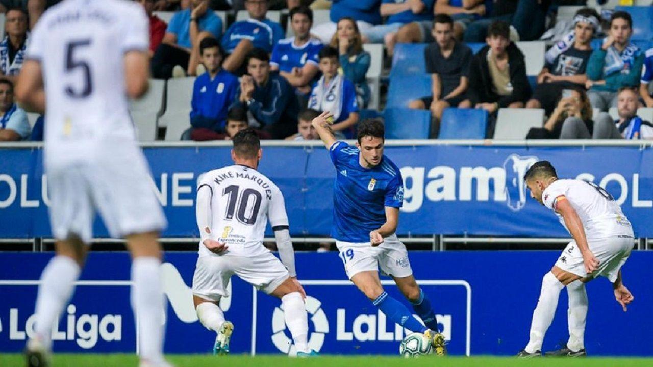 Borja Sánchez ante el Extremadura en el partido de ida
