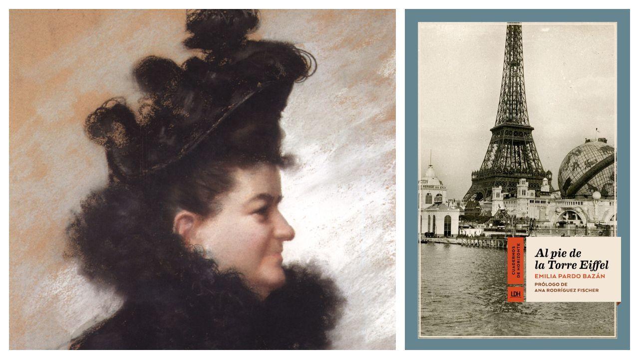 Las pilas que guarda Meirás.La condesa de Pardo Bazán, retratada por en 1896 por Joaquín Vaamonde Cornide. A la derecha, portada del libro de crónicas parisinas