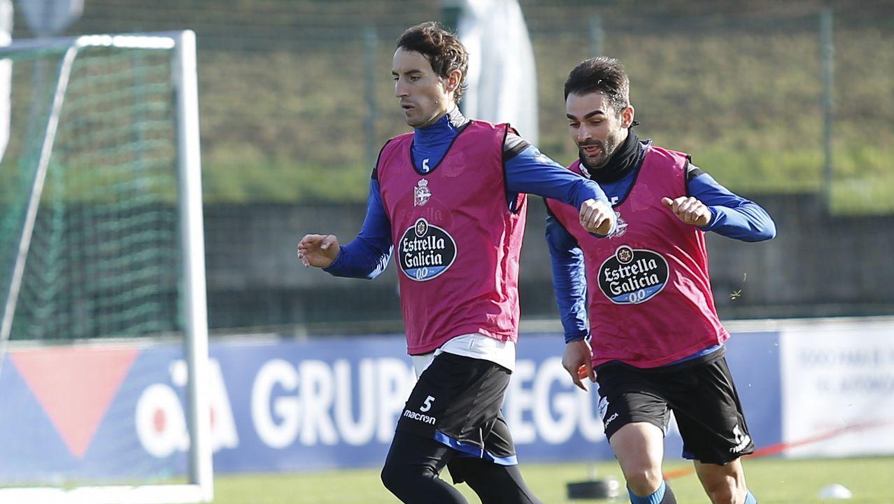 El Deportivo se prepara para jugar en el Bernabéu.Pacheta, en un entrenamiento en El Requexón