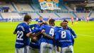 Los futbolistas del Real Oviedo celebran el gol de Tejera en el derbi ante el Sporting de Gijón