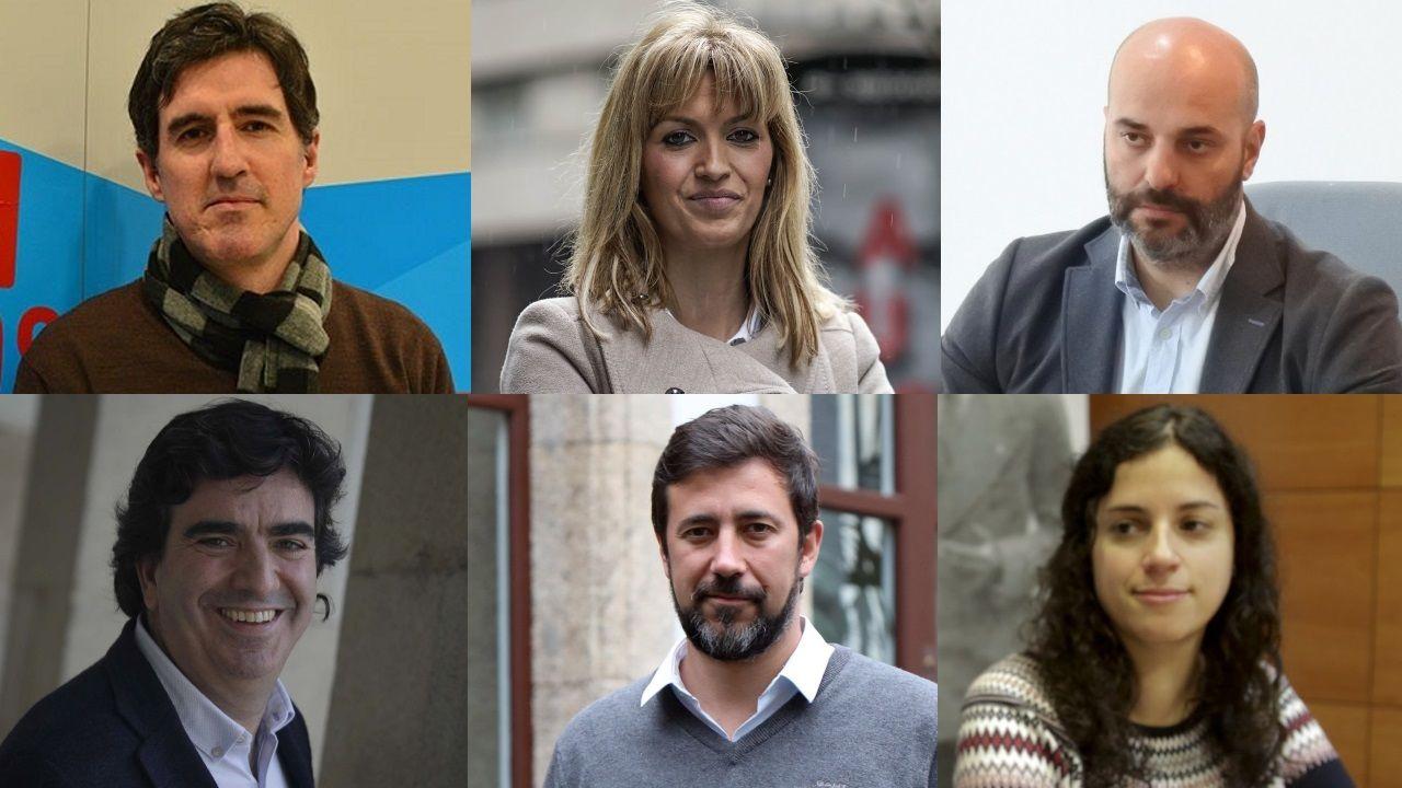 De izquierda a derecha y de arriba a abajo, Pablo Arangüena, Marina Ortega, José Antonio Armada, Martín Fernández Prado, Antón Gómez-Reino y Noa Presas