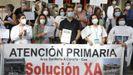 Protesta del personal de Atención Primaria en el centro de salud de Adormideras