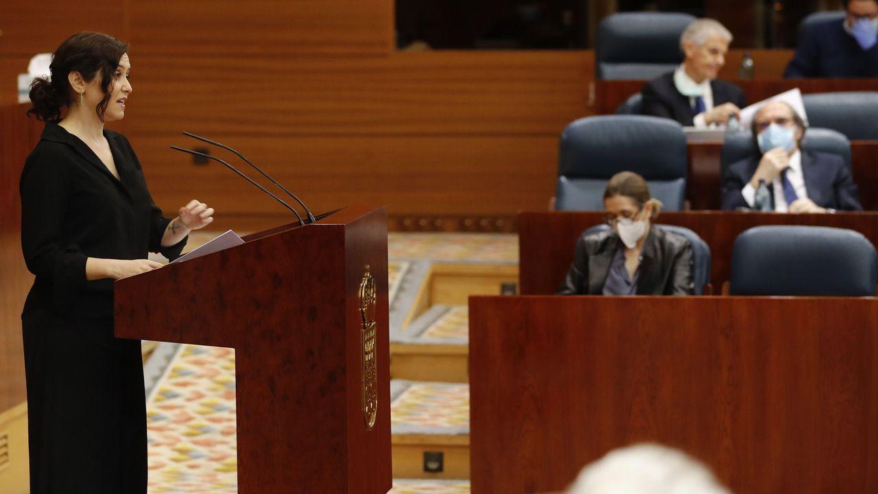 Ayuso, dirigiéndose a la Asamblea de la Comunidad de Madrid durante la sesión de control celebrada este miércoles