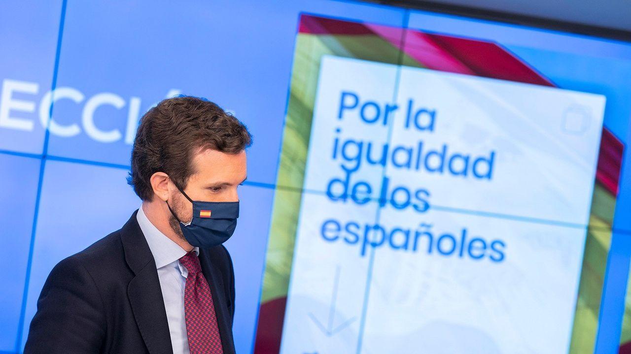 El presidente del PP, Pablo Casado, durante una reunión del Comité de Dirección de su partido.