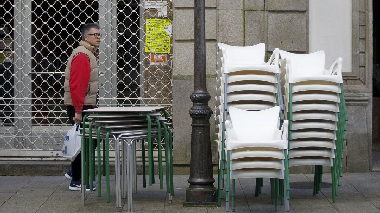 Rueda de prensa de laministra de Asuntos Exteriores.El Zara de Juan Flórez en A Coruña, esta mañana