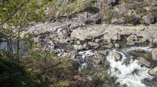El 8Mtiñe de lila Galicai: las fotos del 8M más atípico por el covid.La mujer se precipitó desde la zona que está en primer término y cayó entre las piedras