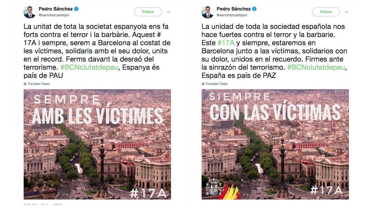 Vista general de la cárcel de Asturias.Los dos tuits originales de Sánchez