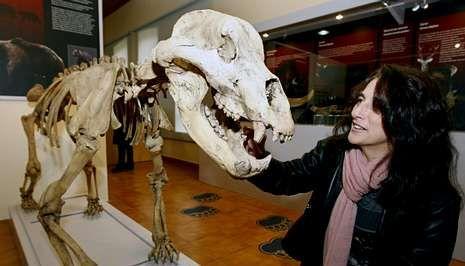 Mary Leakey.Aurora Grandal con la réplica de un esqueleto de oso cavernarnio en el museo de Quiroga.