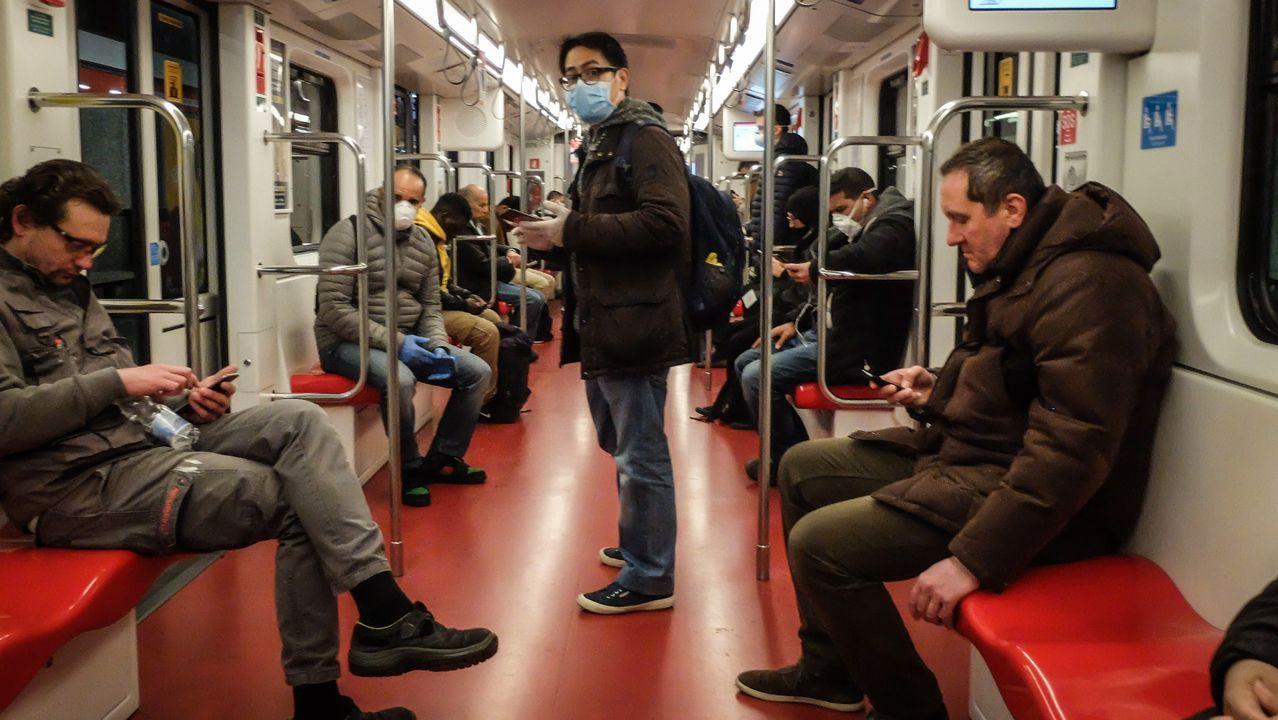 Así nos alertan desde Bérgamo.El metro de Milán, durante la mañna de ayer