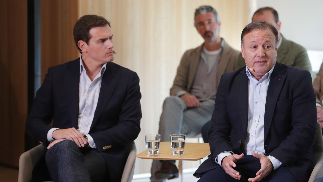 Albert Rivera y Joan Mesquida, hoy, durante la presentación de este último a las primarias de Ciudadanos en Baleares
