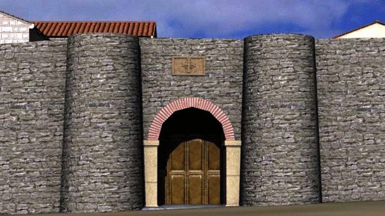 Puerta Rutilante (brillante), que daba supuestamente acceso a la ciudad episcopal en la muralla original de Alfonso II de Oviedo