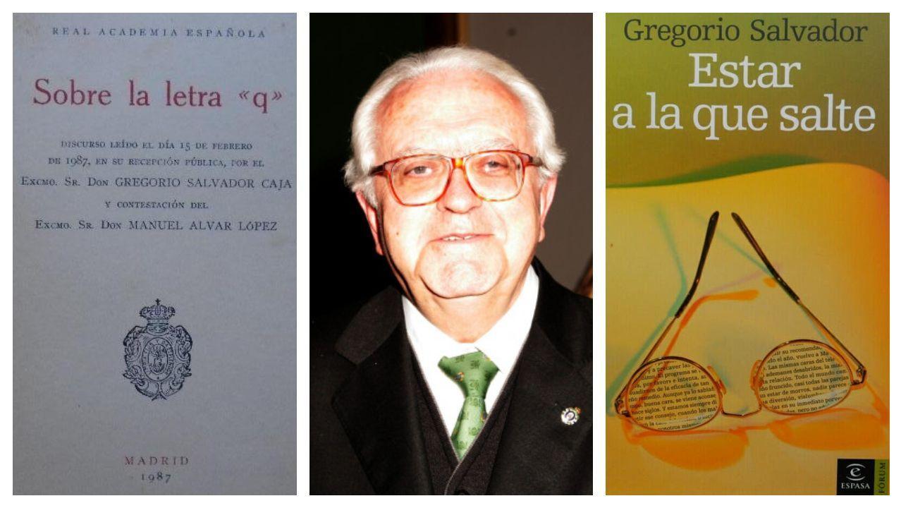 Salvador, flanqueado por las portadas de la edición de su discurso de ingreso en la RAE sobre la letra «q» y de una de sus antologías de artículos periodísticos