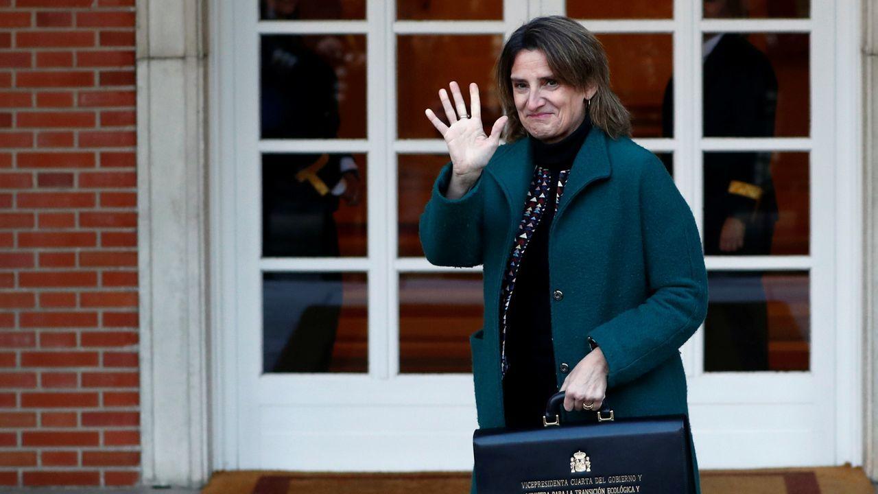 Felipe VI preside su primer Consejo de Ministros de un Gobierno de coalición.Teresa Ribera, vicepresidenta cuarta, encargada de la Transición Ecológica