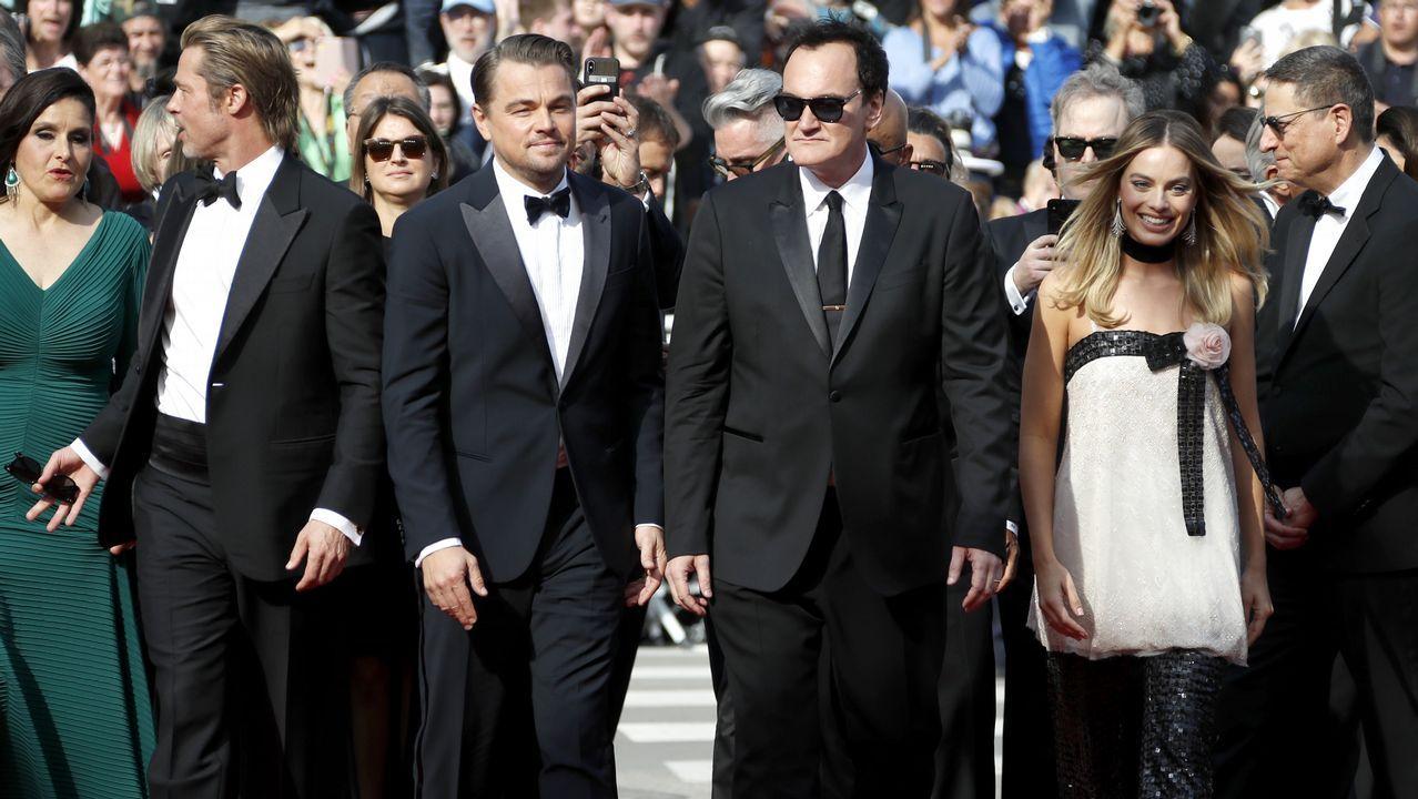 Quentin Tarantino, Brad Pitt, Leonardo DiCaprio y Margot Robbie, en la presentación de la película «Once Upon a Time in Hollywood»