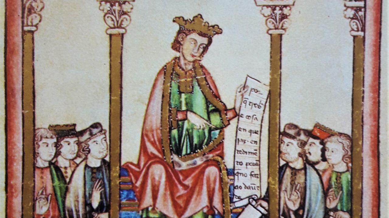 Detalle dunha das ilustracións do Códice Rico das Cantigas.