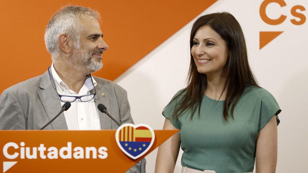 Carlos Carrizosa, presidente del Grupo Parlamentario de Ciutadans, y Lorena Roldán, portavoz en el Senado y candidata de Cs a la presidencia de la Generalitat
