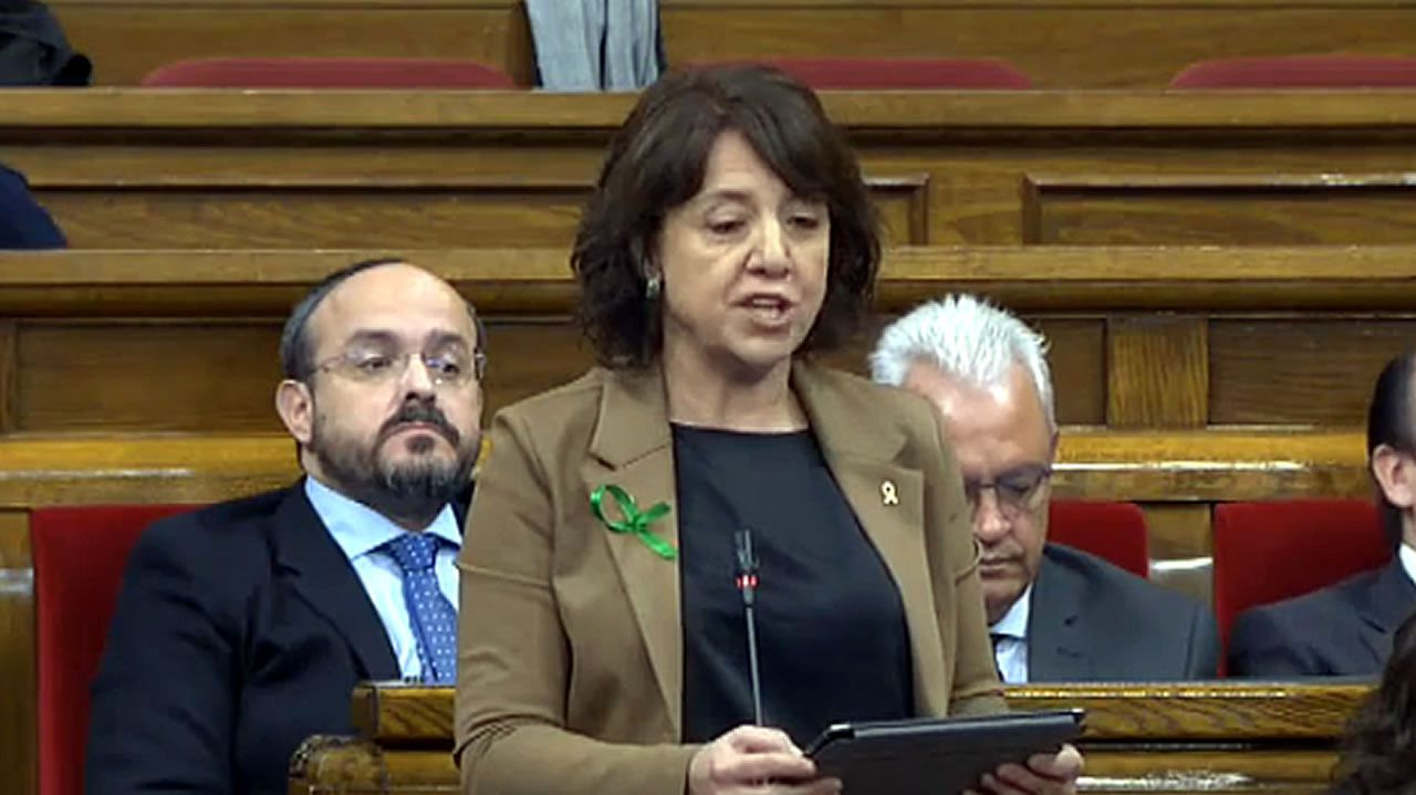 Nueva polémica con el catalán.El presidente catalán, Quim Torra, en una sesión del Parlamento