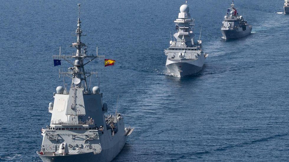 Regreso de la fragata Cristóbal Colón a Ferrol tras cinco meses con la OTAN.La fragata Cristóbal Colón (F-105) capitanea la flota de la SNMG-2 de la OTAN