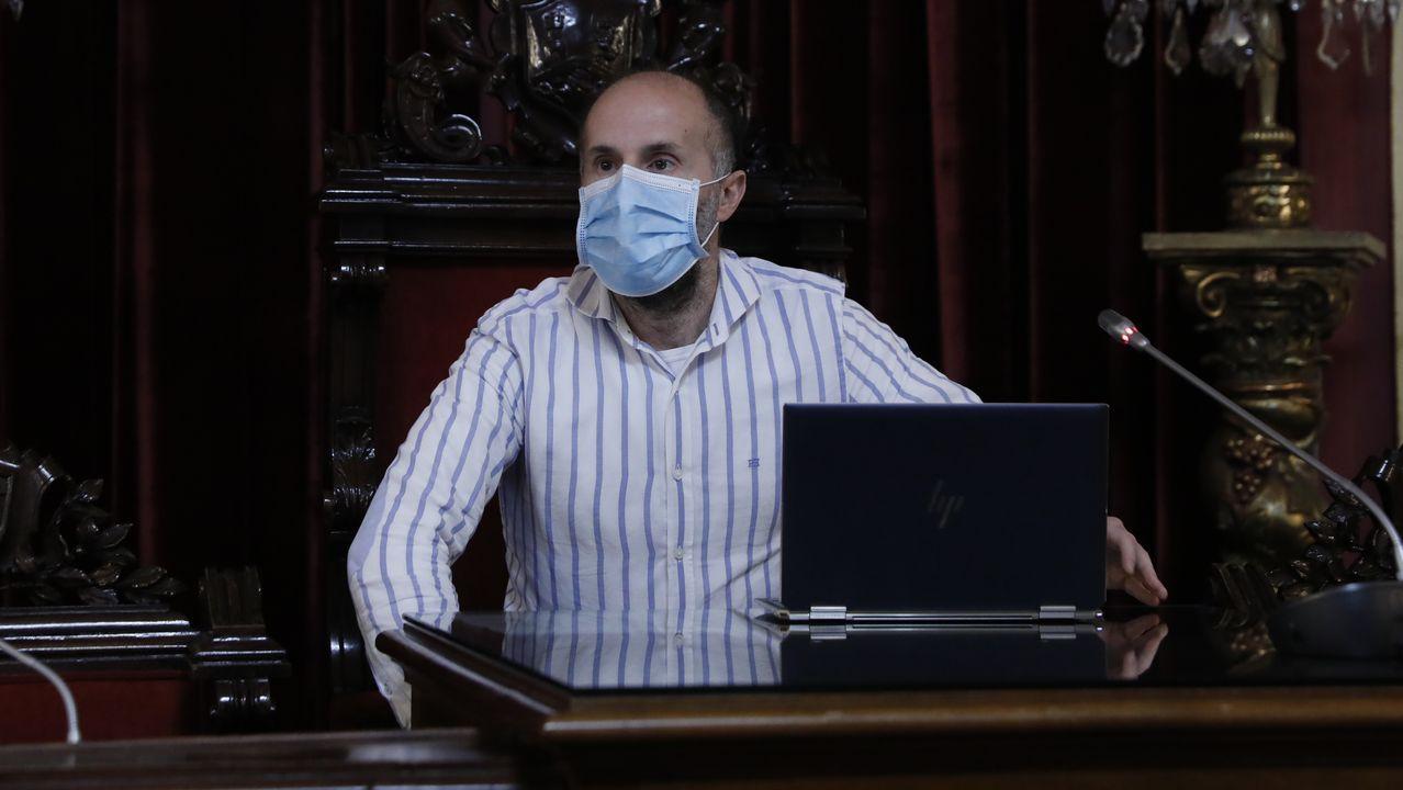 Pérez Jácome este viernes en el ayuntamiento de Ourense, donde asistió a una reunion con representantes de la hostelería local