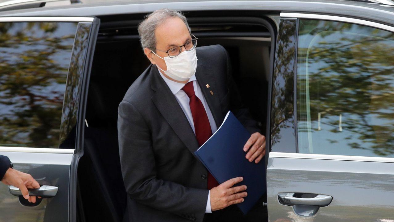 El presidente de la Generalitat, Quim Torra, este jueves, a su llegada al Tribunal Supremo