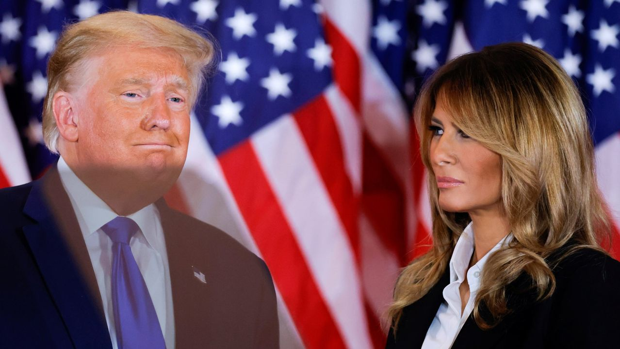 Trump, durante su rueda de prensa en la noche electoral