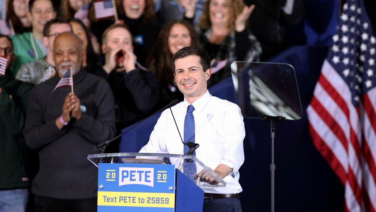 Buttigieg, durante la presentación de su candidatura a las primarias demócratas