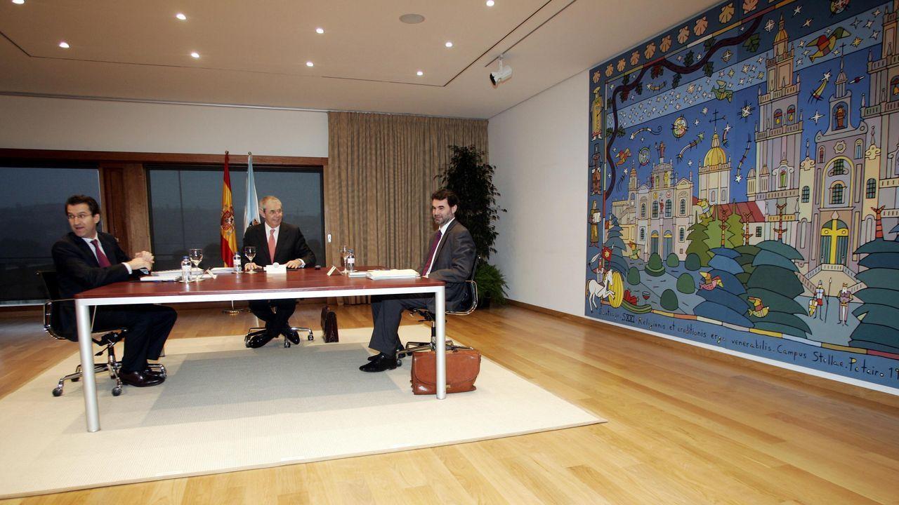 Feijoo, Touriño e Quintana, en xaneiro do 2007, negociando a reforma do Estatuto de autonomía