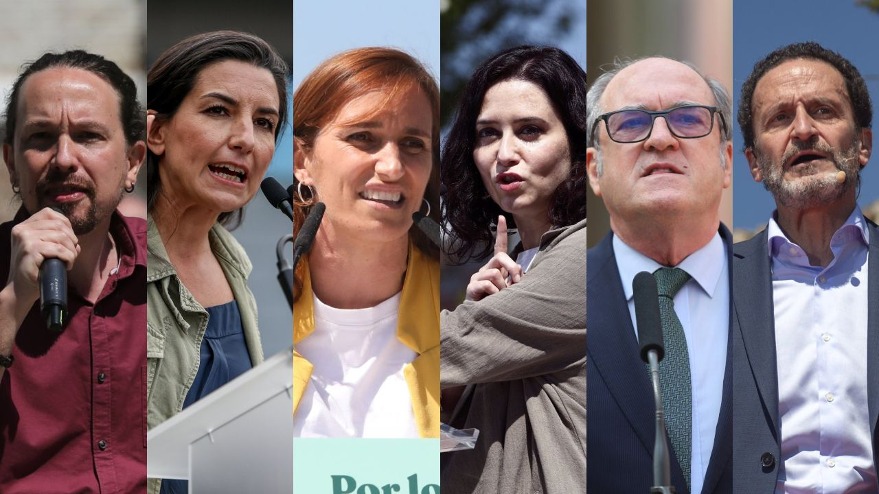 Pablo Iglesias, Rocío Monasterio, Mónica García, Isabel Díaz Ayuso, Ángel Gabilondo y Edmundo Bal