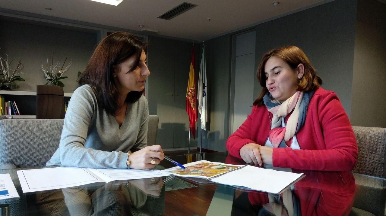 La sorpresa de la conselleira a los niños de Cervantes.Panorámica de Oviedo