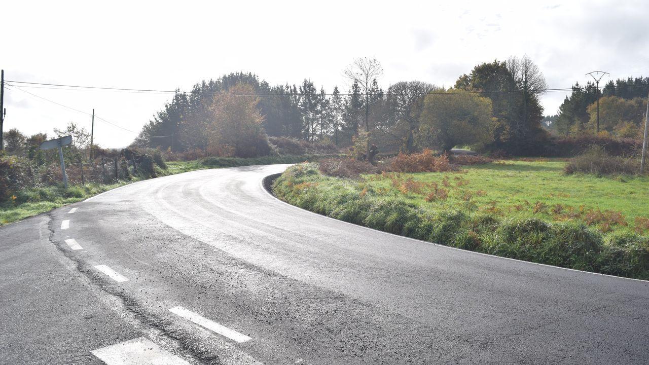 As obras na vía provincial en Antas de Ulla levan un pavimento de aglomerado en quente que fai máis seguro o tránsito de vehículos