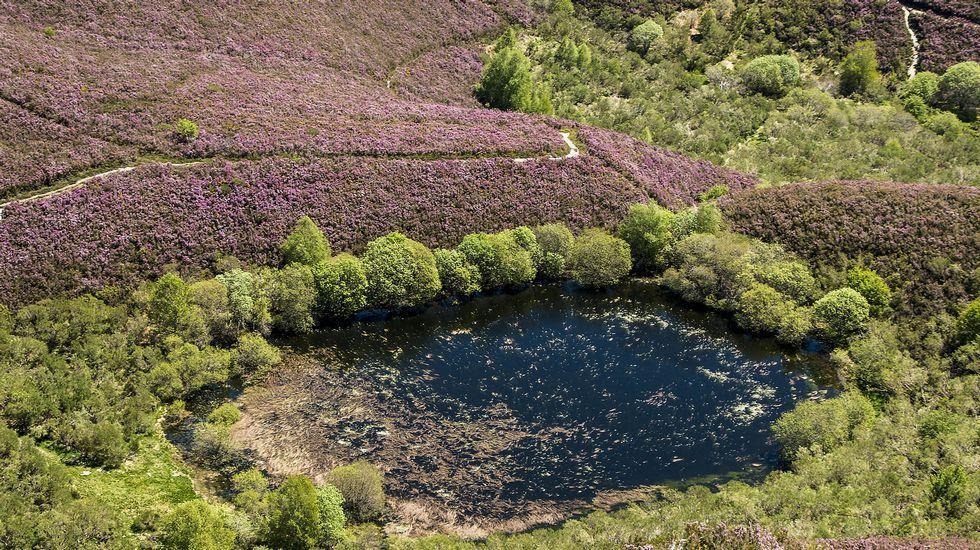 El atractivo de las Montañasde O Courel, el primer geoparque de la Unesco en Galicia.Os alumnos de Quiroga miran ao Courel