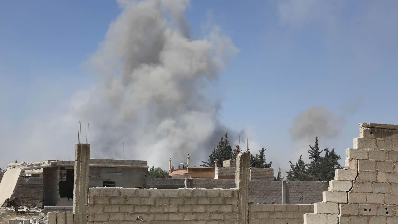 Humo sobre la ciudad siria de Duma