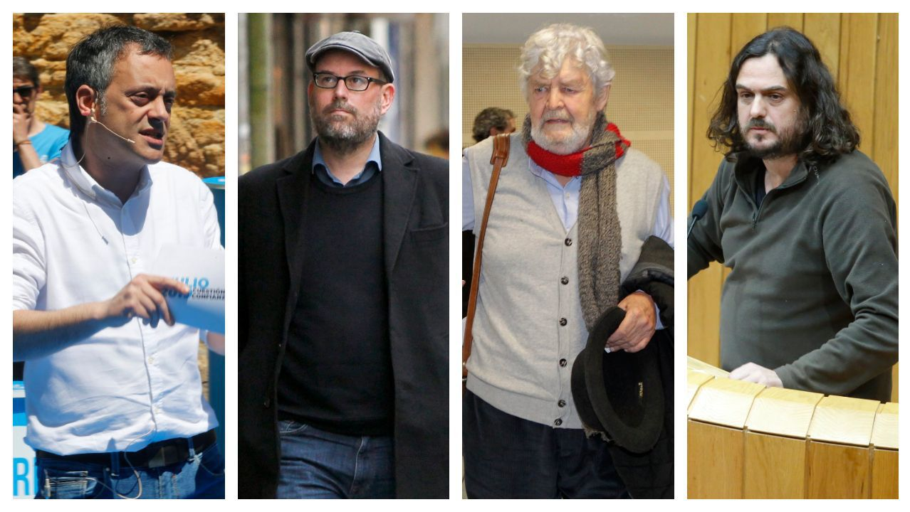 Exmiembros del BNG impulsores de las mareas: Xulio Ferreiro, Martiño Noriega, Xosé Manuel Beiras y Antón Sánchez