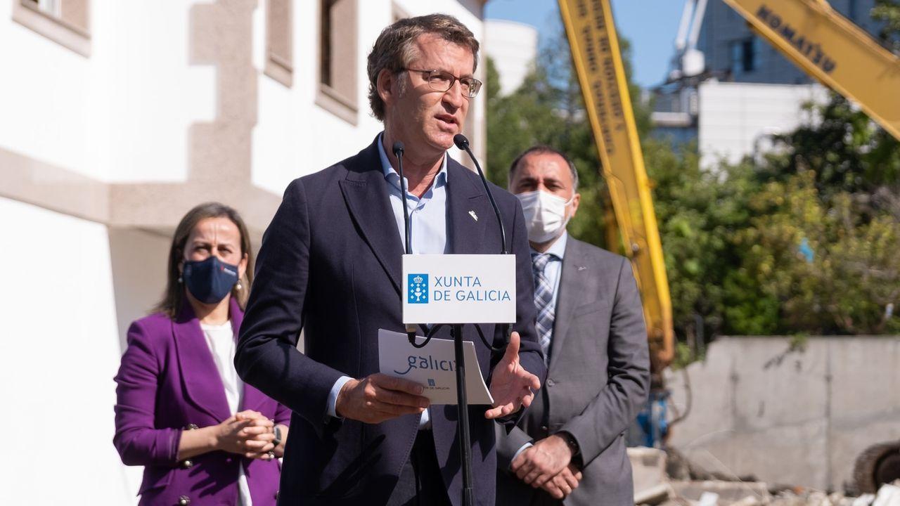 El presidente de la Xunta, Alberto Núñez Feijoo, este lunes, en Pontevedra