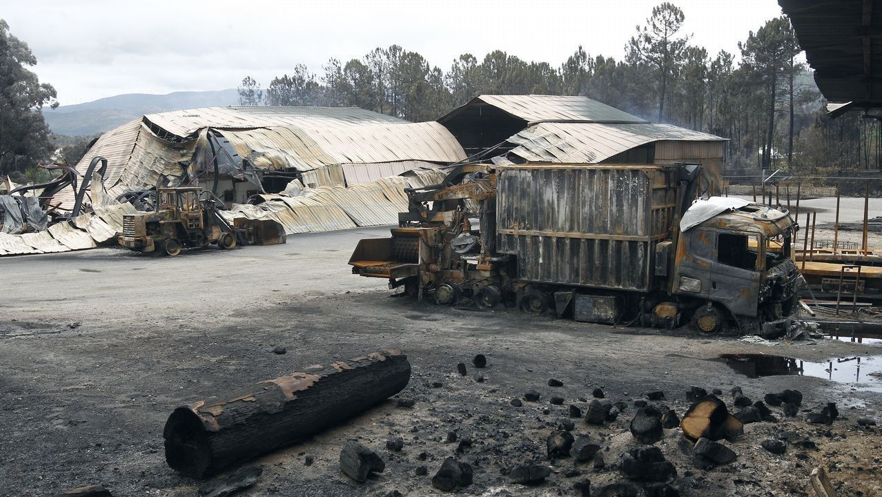 Incendio en Caldas de Reis durante octubre de 2017
