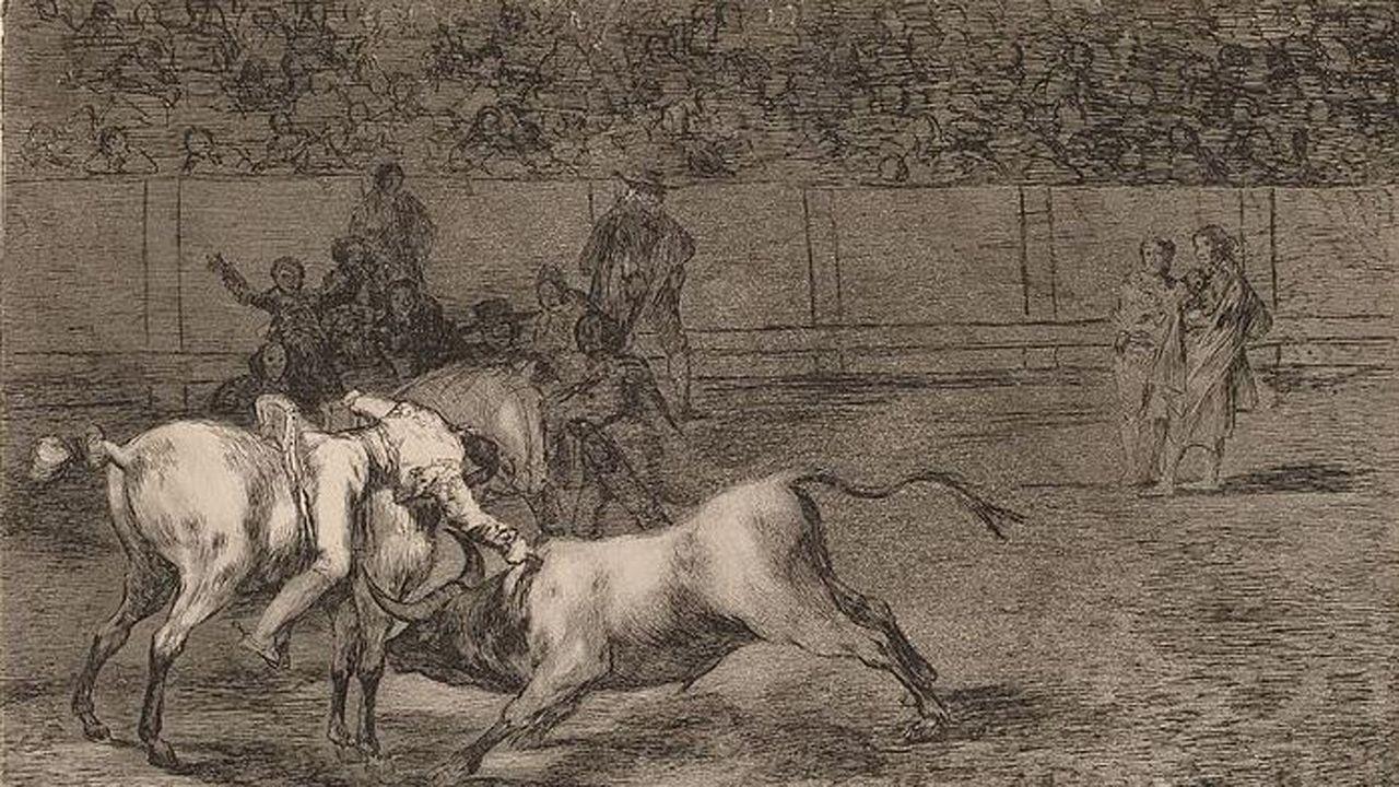 El agua anega Llanes.Goya: Mariano Ceballos, alias el Indio, mata el toro desde su caballo