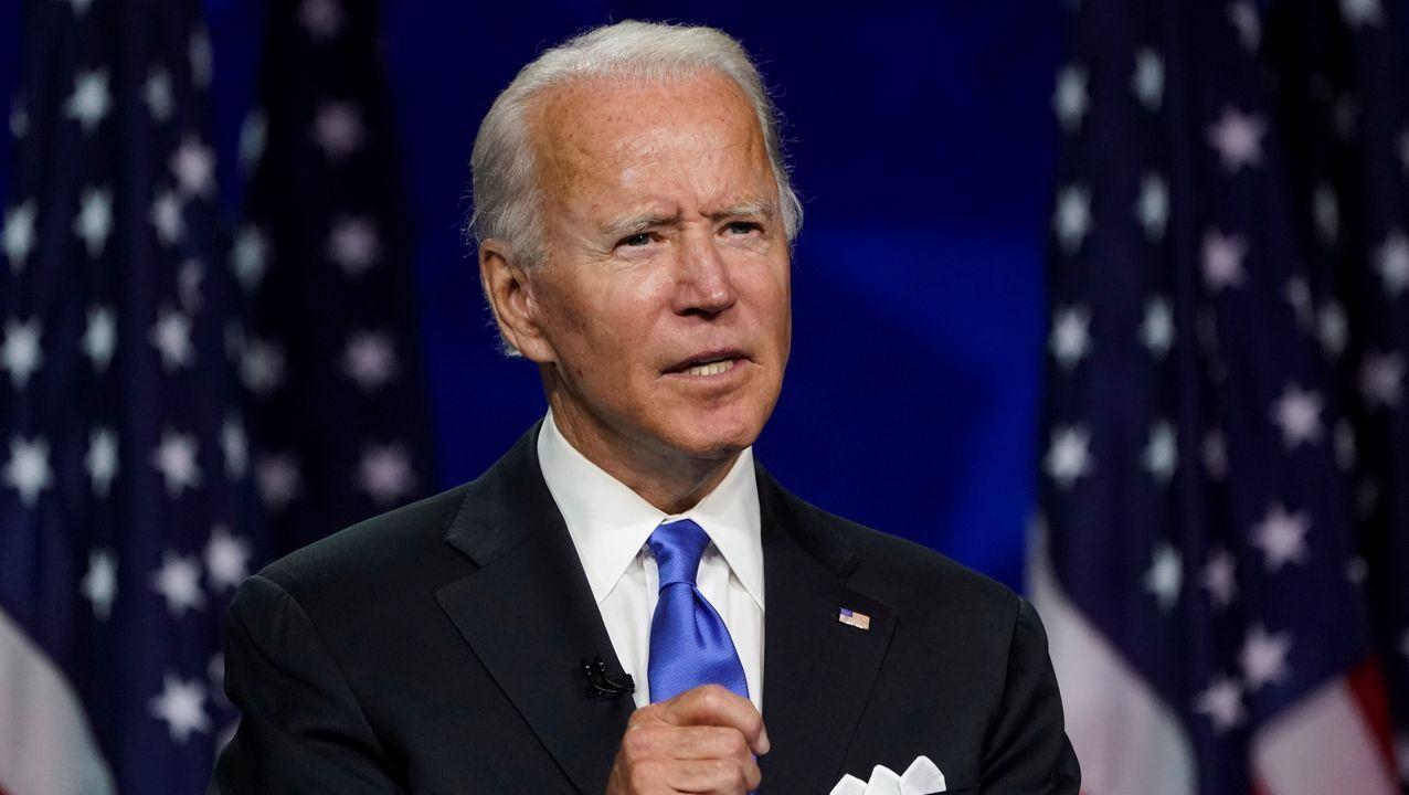 Biden, durante el discurso en el que aceptó la nominación demócrata a la Casa Blanca