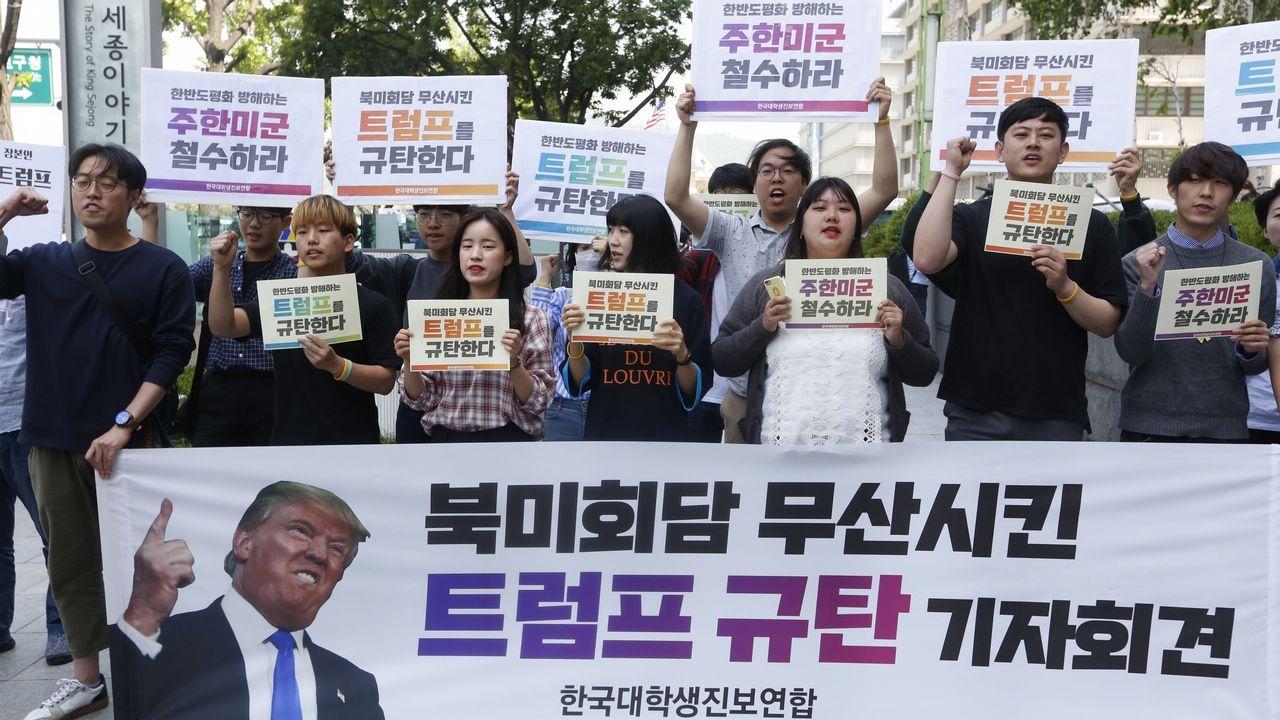 Manifestantes en Corea del Sur contra la cancelación de la cumbre entre Piongyang y Washington