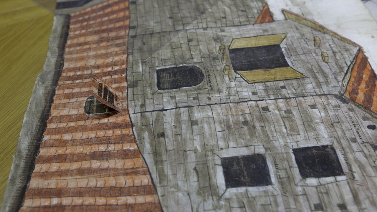 Un plano empleado en un pleito urbanístico en Ourense, con una ventana desplegable