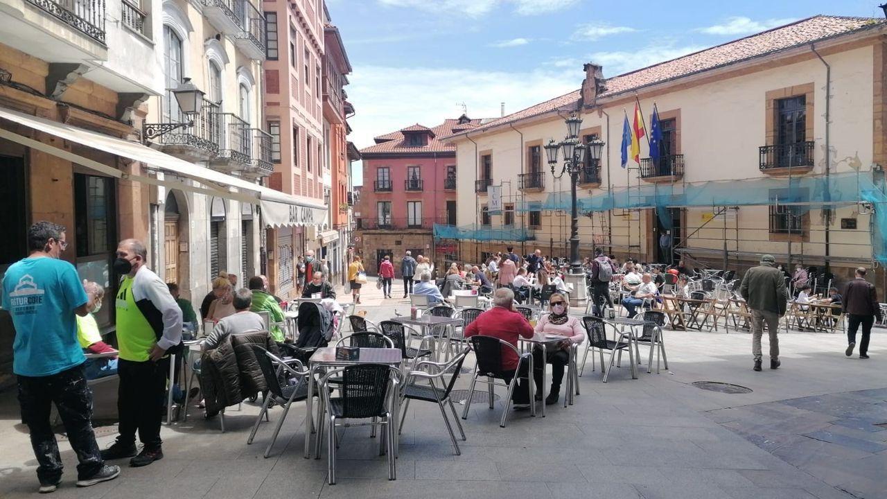 Terrazas hosteleras en el casco antiguo de Oviedo