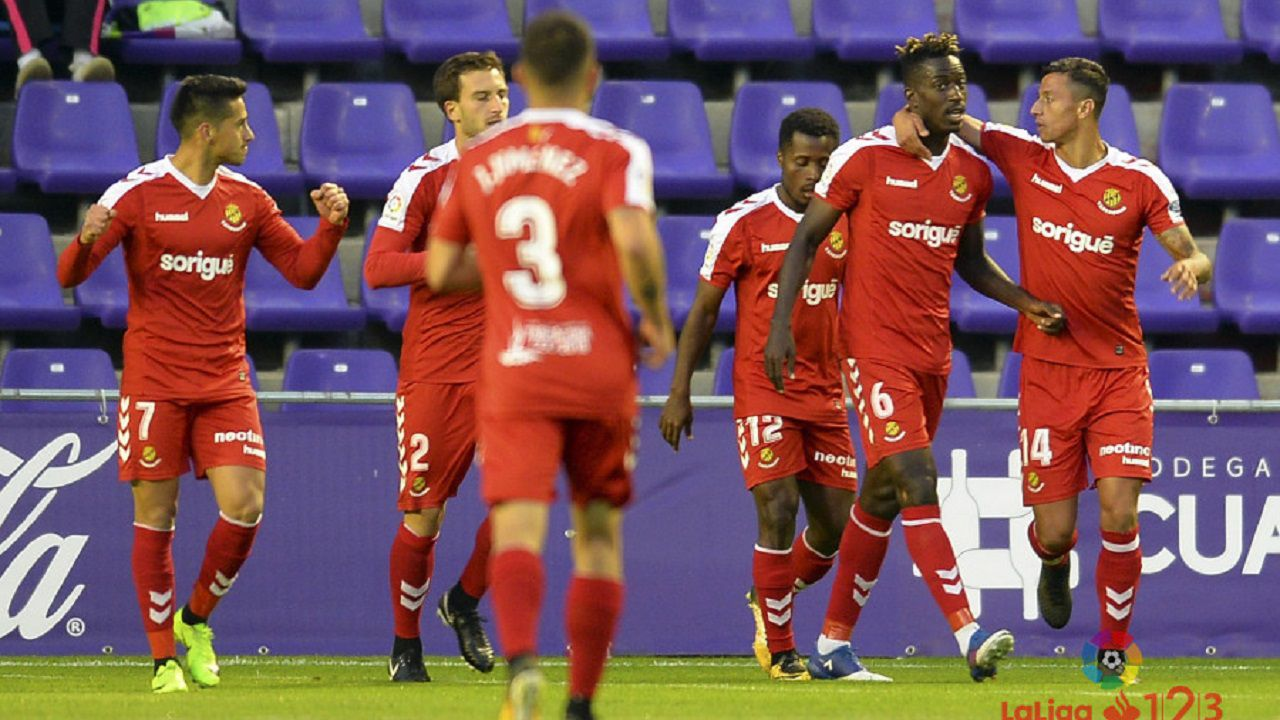 Jugadores del Nàstic celebrando un gol al Valladolid