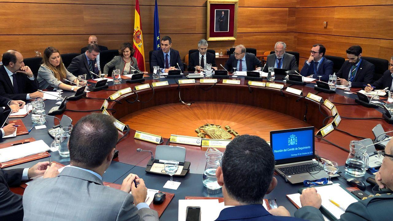 Pedro Sánchez presidió ayer en la Moncloa la reunión del Comité de seguimiento de la situación en Cataluña