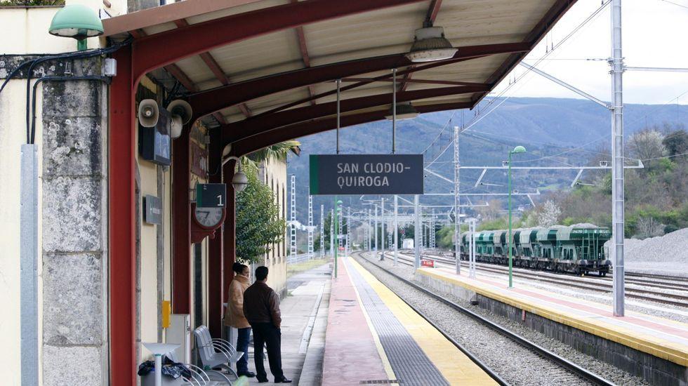 La cosecha de la uva en O Salnés.Algunos de los trenes afectados tuvieron que esperar en la estación de San Clodio a que la avería fuese reparada